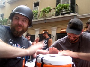 Mate' Hartai -- of Dallas' Libertine Bar and Bar Smyth -- and Whiskey Cake's Sean Conner beat a punch-cooler drum roll