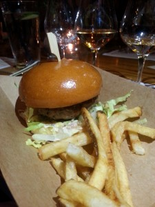 Whiskey Cake's dinner featured this tasty sirloin burger alongside Hudson's Four Grain Bourbon.